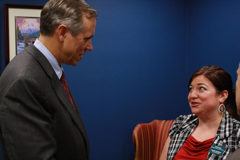 Telling my story to Senator Merkley